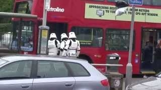 Stormtroopers attempt to get on London Bus outside Jedi-Robe Shop
